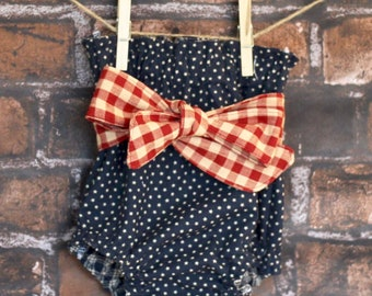 Baby Bloomers | Stars & Stripes Diaper Cover |  Bloomers | High-Waisted Baby Bloomer | Retro Baby Bloomer | Baby Bloomer with Sash | Baby