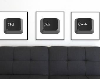 Ctrl + Alt + Create, Computer Poster, Nerd Art, Keyboard, Tech Wall Decor, Set of 3, Digital Download, Minimalist, Framed, Printable