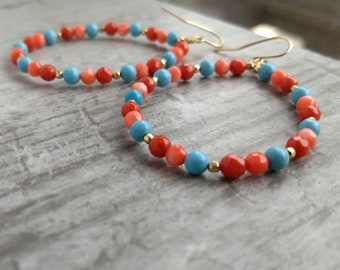 Coral turquoise gold-filled C drop earrings