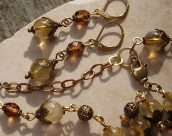 """Free Shipping! Victorian Style 18"""" Beaded Citrine Gemstone and Smoked Topaz Czech Glass Floral Necklace Earring Set W/Extender & Lever Backs"""