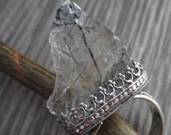 Crystal Peak Ring - Natural Tourmalinated Quartz in Sterling Silver