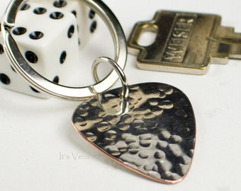 Key ring, guitar pick, ring, handmade key ring, musician, keys, Dad gift, handmade guitar player gifts, man gifts, groom gifts, keychains