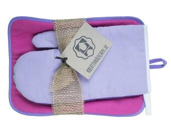 Pot holder oven Mitt kitchen helper pink/purple