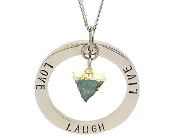 Coorabell Crafts Silver circle pendant with druzy charm. Inscribed Love Laugh Live. Ready to gift in stylish gift box