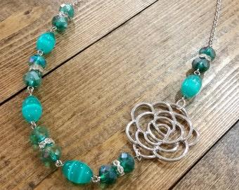 Silver Rose Green Crystal Asymmetrical Necklace
