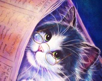 Tuxedo Cat Reading is Fun-damental PRINT by L. Risor