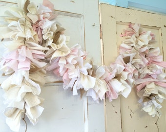 Baby Girl Burlap Shower Party Decoration.  6-10 foot fabric Garland Banner. Burlap and Pink Party Decor & Backdrop for Baby Girl Shower