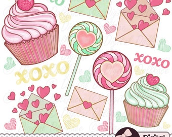 Valentines Day Clipart, Valentine Clip Art, XOXO / Pink and Mint Love Notes, Hearts & Sweets Graphics
