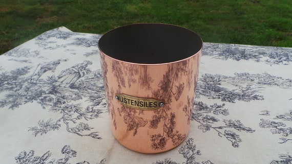 Havard French Copper Utensil Holder Marked Utensils Spoon Spatula Holder Normandy Kitchen Copper Vintage Utensil Holder
