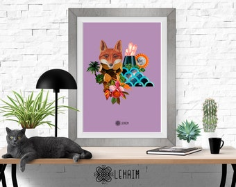 Foxy of the Future print, Boho style, Bohemian wall art, Fashion illustration, Elegant home decor, Poster, Instant download, Printable