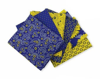 Blue Floral Fat Quarters, Fat Quarter Bundle, Craft Bundle, Fat Quarters Fabric Bundle, Fat Quarter Quilt Fabric, 100% Cotton Fabric