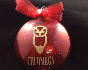 Chi Omega (Owl) Sorority Glitter Christmas Ornament