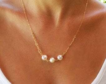 Gold necklace, filigree necklace, 14k gold filled, bridal necklace, wedding, bridesmaid necklace, classic necklace, white pearl necklace