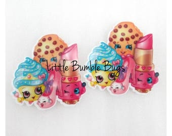 Shopkins Inspired Planar Resin-Flat back-Cabochon-Embellishment-Hair bow Centre-Cake Decorating Resin-Party Decor - S1 Characters Set of 2