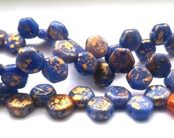 Hodge Podge Honeycomb Blue Splash, Hex 2-Hole Beads Czech Glass 6mm, 699995-94401 30 beads