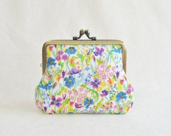 Liberty floral frame purse | Summer Posy | art, garden, meadow, countryside