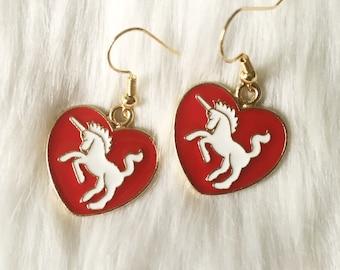 Unicorn Heart Earrings