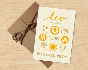 Leo Card! Astrological Sun Sign, Zodiac Design. Stationery, Birthday Gift. Envelope included.