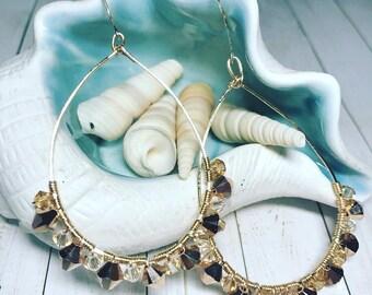 Rose Gold and Silk Swarovski Crystal Teardrop Earrings