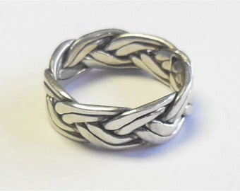 Vintage Sterling Silver TMA Double Strand Woven Braid Ring Band Size 7