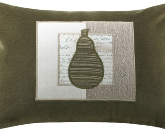 Mod Framed Pear Decorative Throw Pillow Boudoir Size 12 x 18 inches