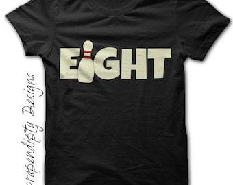 Bowling Birthday Shirt, Kids Birthday Party, Eighth Birthday Tshirt, Bowling Shirt for Eight Year Old, Eighth Birthday Gift, Girls Bowling