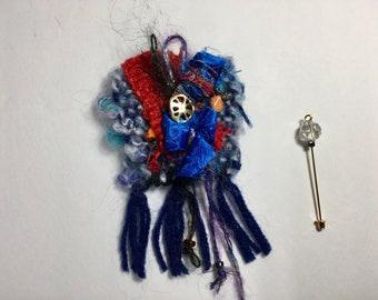 Wearable Fiber Art Brooch/Wearable Art/Hat Pin/ Scarf Pin