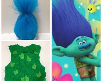 Trolls Hair, Branch Hair, Branch Headband, Branch Vest, Trolls Vest, Trolls Costume, Branch Costume, Boy Trolls Costume