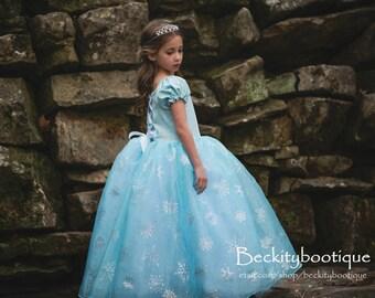 Princess Tulle Dress - Princess Ballgown - Snow Princess Gown - Tulle Ballgown - Child Ballgown - Blue Princess Ball Gown Girls 6 RTS OOAK