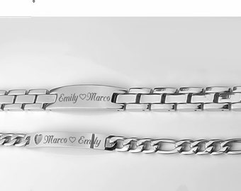 Personalized Silver Couples ID Bracelet Set Custom Engraved Free