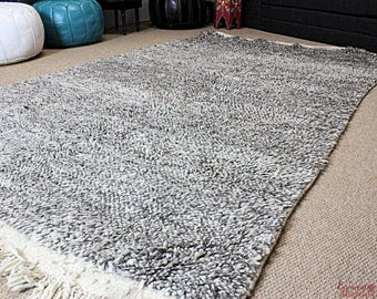 Moroccan Rug Beni Ourain Pure Wool Hand-knotted Large 254 x 150 cm / 8.3ft. x 5ft. (BON1)