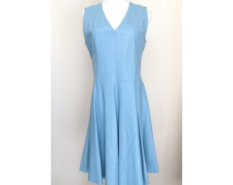 The ALICE Dress - Medium -  A-line Baby Blue Leather Sleeveless V-Neck  . US Free Shipping