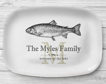 Melamine Fish Platter, Personalized Lake Home Serving Platter, Melamine Platter, Personalized Serving Tray, Cabin Decor