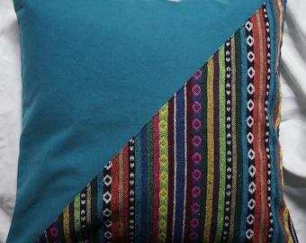 Mexico 10 series: Cushion 40x40cm (16 x 16), striped cotton Mexican motifs, multicoloured, blue-green cotton.