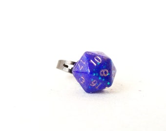 Individually cast clear resin D20 dice ring with neon purple glitter