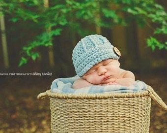 Crochet Hat Pattern: 'Keenan Cap' Boys/Girls Hat, Newborn, Baby, Toddler & Child