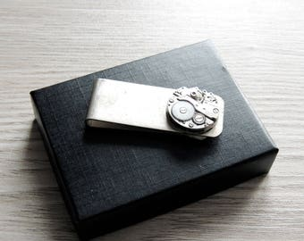 Steampunk money clip- Silver