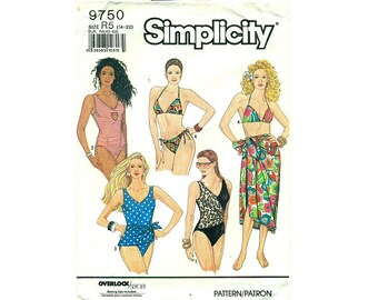 """UNCUT Simplicity 9750 Swimsuits, Bikini, Pareo and Sarong Sewing Pattern 5 Sizes Bust 36"""" to 44"""" UK 14 to 22"""