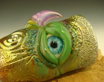 Hand blown Eye Shot Glass Flameworked Art Horny Green fumed Monster eye by Eli Mazet (ready to ship) green