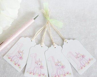 1st Birthday Unicorn Gift Tags - set of 4 tags
