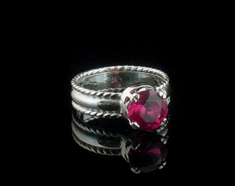 Ruby Ring 8mm - Argentium Silver