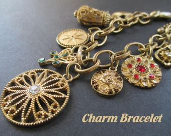 Charm Bracelet * Eight Charms * Gold Tone And Rhinestones * Gift For Lady