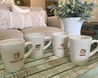 Williams Sonoma Set of Four Coffee Mugs Cafe Au Lait American Coffee Expresso Mocha TYCAALAK