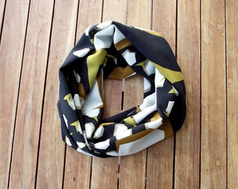 Mustard Scarf, Geometrical Scarf, Printed Loop Scarf, Cotton Circle Scarf, Infinity Scarf, Cotton Summer Scarf, Women's Gift, Christmas Gift