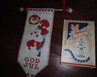 Vintage Swedish God Jul Wallhanging Cross Stitch Christmas and eNy Angle spelet windmill