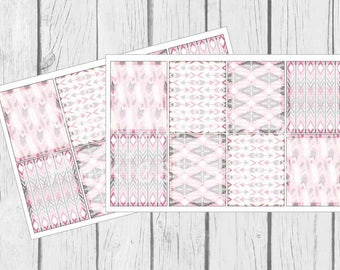 Pink Tribal Planner Stickers Shaded Full Boxes set of 8 PS418d