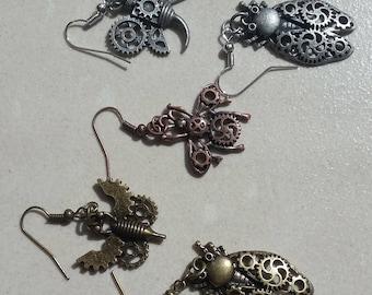Steampunk Bug Charm Earrings - 5 Styles