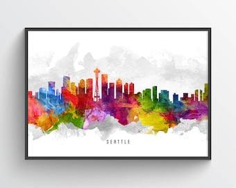 Seattle Washington Skyline Poster, Seattle Cityscape, Seattle Print, Seattle Art, Seattle Decor, Home Decor, Gift Idea, USWASE13P
