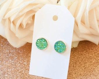 Druzy Earrings   Stud Earrings   Emerald Green Faux Druzy w/ Silver Bezels Studs   Gifts for Her   Bridesmaid Gift   Silver Earrings  