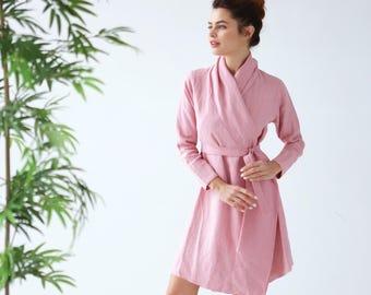 Handmade Linen bathrobe. Natural linen robe. Bathrobe.Homewear. Pink bathrobe. Linen dress. Gown sleepwear. Summer clothes. Flax bathrome